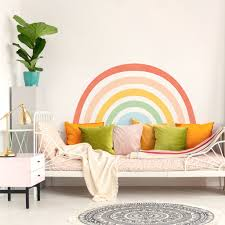 Big Mural Rainbow Wall Sticker For Fun Home Decor Plastic Free And Removable Made Of Sundays