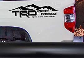 Amazon Com Coza Mountain Theme Decal Sticker Compatible With Trd Tacoma Tundra Or Any Toyota Truck Pair Set Of 2 Black Matte Automotive