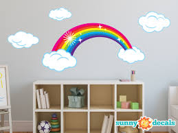 Cloud Wall Decals Pink Colorful Fluffy Design Gold Sticker Personalised White Island Vamosrayos