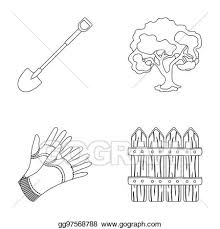 Clipart A Shovel With A Handle A Tree In The Garden Gloves For Working On A Farm A Wooden Fence Farm And Gardening Set Collection Icons In Outline Style Raster Bitmap