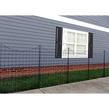 Amazon Com Xcel Black Steel Anti Rust Fence Panel Flat End Picket 6 5ft W X 5ft H Easy Installation Kit Outdoor Residential Fencing For Yard Garden Concrete 3 Rail Metal