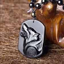 black obsidian wolf head pendant