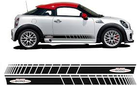 Amazon Com 2pcs Car Styling Decoration Sticker For Mini Cooper R56 F56 Side Stripes Graphics Decal John Cooper Works Stripe Accessories Gloss Black Arts Crafts Sewing