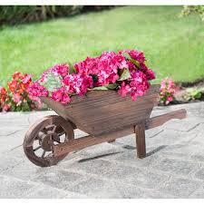 burntwood wooden wheelbarrow planter