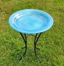 blue swirls embossed glass birdbath