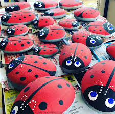 stone ladybugs garden craft crafty