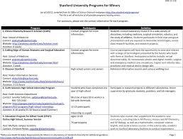 stanford university programs for minors