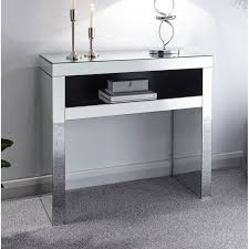mirrored console table hallway