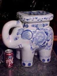 cobalt blue white elephant garden seat
