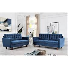sophia dark blue 2 piece velvet tufted