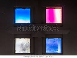 four small colorful stained glass
