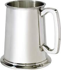 pewter glass bottom tankard 1 pint