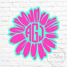 Two Color Flower Monogram Decal Sew Southern Designs