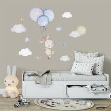Balloon Nursery Baby Room Wall Sticker Bunny Nursery Wall Decal Bunny Kidscutedecorations