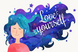 love yourself quote and w night sky hair vector