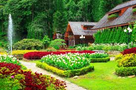 houses with beautiful flower gardens hd