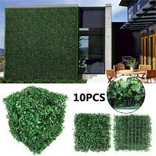 10pcs 20pcs Artificial Faux Ivy Leaf Privacy Grass Fence Panel Boxwood Mat Ebay