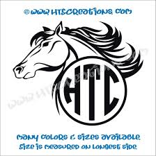 Horse Head Equestrian Rodeo Western Circle 3 Letter Monogram Vinyl Car Decal Sticker Rescue