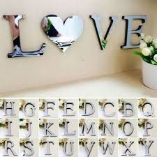Creative 3d Mirror Wall Sticker 26 Letters Heart Pendant Diy Wall Decal Home Room Decor Art Mural Wall Stickers Wish