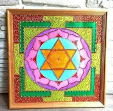 Handpainted Sri Lakshmi Yantra Jyotish Mandala Wall Art Vastu Meditation Ebay