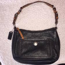 black pebble leather handbag