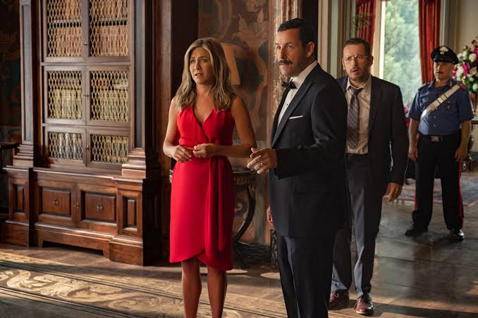 Jennifer Aniston and Adam Sandler in a scene in murder mystery