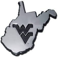 Amazon Com West Virginia University Wvu Mountaineers Premier Metal Auto Emblem State Shaped Arts Crafts Sewing