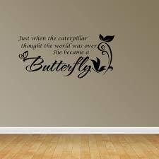 She Became A Butterfly Vinyl Wall Decals Vinyl Decals Nursery Decal Girls Room Jp7 Walmart Com Walmart Com