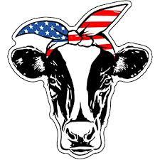 Amazon Com Wickedgoodz American Flag Bandana Cow Vinyl Decal Patriotic Sticker For Tumblers Laptops Car Windows Automotive