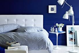royal blue grey and white bedroom