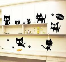 Cartoon Cat Cute Bedroom Set Wall Sticker Girls Boys Wall Art Decal Decor Ebay