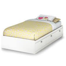 white twin storage platform bed