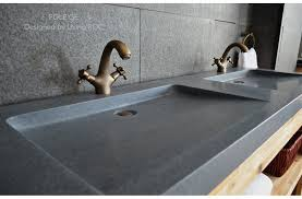63 trough sink gray granite double