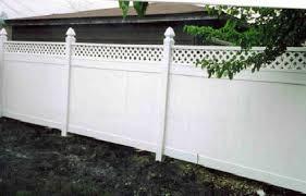 Spartan Fence Company Vinyl White Semi Privacy With Lattice Top Gothic Caps 2 Image Proview