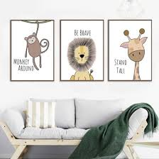 Shop Animal Zebra Hippo Lion Painting Kids Room Bedroom Picture Poster Wall Decor Online From Best Arts Crafts On Jd Com Global Site Joybuy Com
