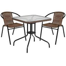 metal frame with square glass table