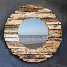 round driftwood mirror no one wall