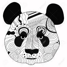 De Kunsthand Die Van De Lijn Zwarte Die Panda Trekt Op Witte