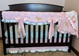 pink and mint baby girl nursery bedding