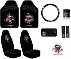 Amazon Com Ed Hardy Love Kills Slowly Seat Covers Floor Mats Steering Wheel Cover Shoulder Belt Pads Visor Organizer Pouch And Decal 10 Pc Set Automotive