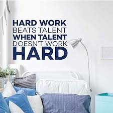 Amazon Com Motivational Wall Decal Quote Hard Work Beats Talent Vinyl Decor For Football Soccer Basketball Baseball Volleyball Sports Locker Room Boy Bedroom Black White Red Other Colors Handmade