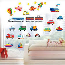 Cartoon Truck Tractor Car Wall Stickers Kid Room Vehicle Wall Decals Art Poster For Sale Online