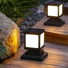 Thrisdar Outdoor Solar Pillar Lamp Fence Villa Parking Column Lamp Gate Courtyard Villa Landscape Fence Solar Bollard Light Solar Lamps Aliexpress