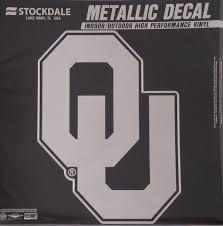 Amazon Com Oklahoma Sooners 12 Large Silver Metallic Vinyl Auto Decal University Of Sports Outdoors