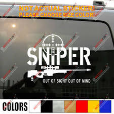 Sniper Out Of Sight Out Of Mind Rifle Decal Sticker Gun Car Vinyl Ebay