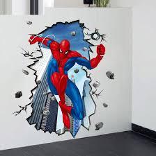 3d Super Hero Spider Man Mural Art Vinyl Wall Decal Sticker Kids Room Decor
