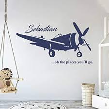Amazon Com Custom Airplane Name Wall Decal Boys Kids Room Decor Nursery Wall Decals Airplanes Wall Decors Beauty
