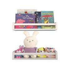 Bidami Wood Nursery Bookshelves White Set Of 2 Floating Bookshelf For Kids Perfect Nursery Decor For Babya S Room Kitchen Bedroom