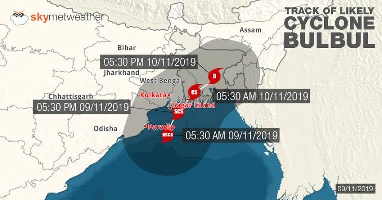 """Resultado de imagen para Cyclone Bulbul map"""""""