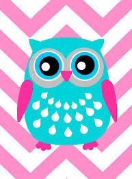 owl pink turquoise clip art design